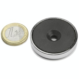 CSF-40 Magnete in ferrite con base in acciaio, con foro svasato, Ø 40 mm
