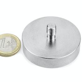 GTN-48 Aimant en pot à goupille filetée Ø 48 mm, pas de vis M8, force d'adhérence env. 85 kg