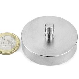 GTN-48 Magnete con base in acciaio con gambo filettato Ø 48 mm, tiene ca. 85 kg, filettatura M8,