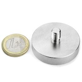 GTN-40 Magnete con base in acciaio con gambo filettato Ø 40 mm, filettatura M8, forza di attrazione ca. 45 kg