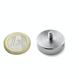 GTN-25 Pot magnet with threaded stem Ø 25 mm, thread M5, strength approx. 25 kg