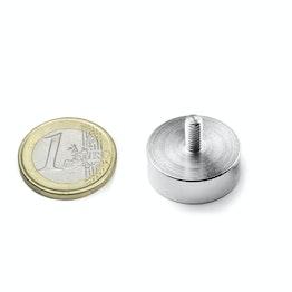 GTN-20 Magnete con base in acciaio con gambo filettato Ø 20 mm, tiene ca. 12 kg, filettatura M4,