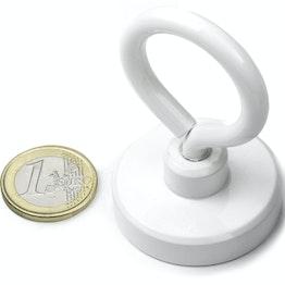 OTNW-40 potmagneet met oogmoer wit Ø 40,3 mm, met poedercoating, schroefdraad M6