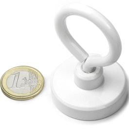 OTNW-40 Pot magnet with eyelet white Ø 40,3 mm, powder-coated, thread M6