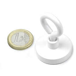 OTNW-32 Pot magnet with eyelet white Ø 32,3 mm, powder-coated, thread M5