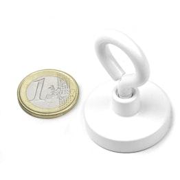 OTNW-32 Magnete con base in acciaio con occhiello bianco Ø 32,3 mm, tiene ca. 28 kg, verniciato a polvere, filettatura M5