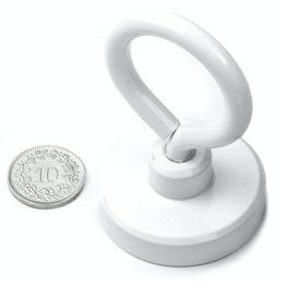 OTNW-40 Pot magnet with eyelet white Ø 40.3 mm, powder-coated, thread M6