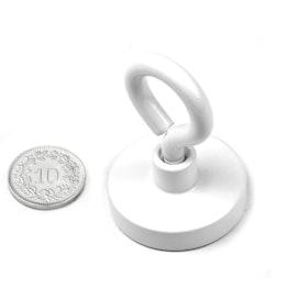 OTNW-32 Pot magnet with eyelet white Ø 32.3 mm, powder-coated, thread M5
