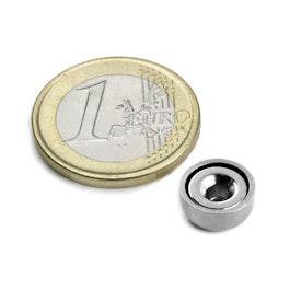 CSN-10 Magnete con base in acciaio con foro svasato Ø 10 mm, forza di attrazione ca. 1,3 kg