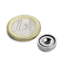 CSN-13 Magnete con base in acciaio con foro svasato Ø 13 mm, tiene ca. 3 kg,
