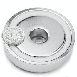 ZTN-60 Magnete con base in acciaio con foro cilindrico, tiene ca. 95 kg, ø 60 mm