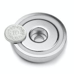 ZTN-48 Magnete con base in acciaio con foro cilindrico, Ø 48 mm