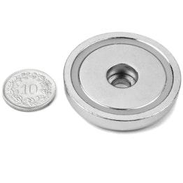 ZTN-42 Magnete con base in acciaio con foro cilindrico, tiene ca. 32 kg, ø 42 mm