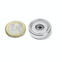 ZTN-25 Magnete con base in acciaio con foro cilindrico, Ø 25 mm