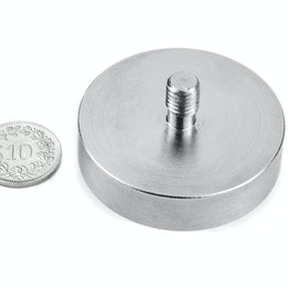 GTN-48 Topfmagnet mit Gewindezapfen Ø 48 mm, hält ca. 85 kg, Gewinde M8,