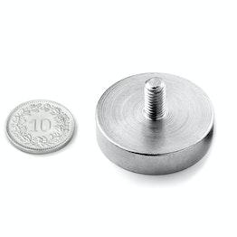 GTN-32 Pot magnet with threaded stud Ø 32 mm, holds approx. 39 kg, thread M6,
