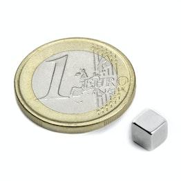W-05-N50-N Würfelmagnet 5 mm, hält ca. 1,2 kg, Neodym, N50, vernickelt