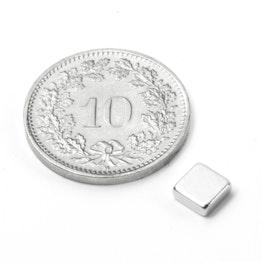 Q-05-05-02-N Parallelepipedo magnetico 5 x 5 x 2 mm, neodimio, N45, nichelato