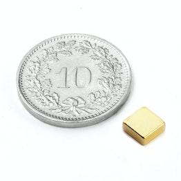 Q-05-05-02-G Block magnet 5 x 5 x 2 mm, neodymium, N45, gold-plated
