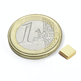 Q-05-05-02-G Block magnet 5 x 5 x 2 mm, neodymium, N45, gold-plated