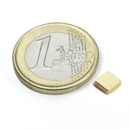Q-05-05-02-G Parallelepipedo magnetico 5 x 5 x 2 mm, tiene ca. 650 g, neodimio, N45, dorato