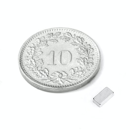 Q-05-2.5-1.5-HN Quadermagnet 5 x 2.5 x 1.5 mm, hält ca. 350 g, Neodym, 44H, vernickelt