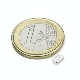 Q-05-2.5-02-HN Quadermagnet 5 x 2,5 x 2 mm, Neodym, 44H, vernickelt
