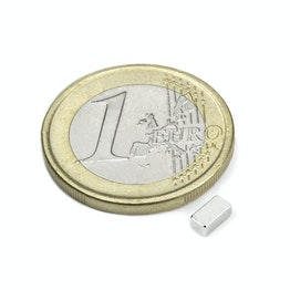 Q-05-2.5-02-HN Quadermagnet 5 x 2,5 x 2 mm, hält ca. 450 g, Neodym, 44H, vernickelt