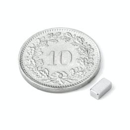 Q-05-2.5-02-HN Block magnet 5 x 2.5 x 2 mm, holds approx. 450 g, neodymium, 44H, nickel-plated