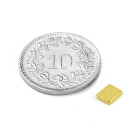 Q-05-04-01-G Parallélépipède magnétique 5 x 4 x 1 mm, néodyme, N50, doré