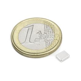 Q-05-04-1.5-N Bloque magnético 5 x 4 x 1,5 mm, neodimio, N48, niquelado
