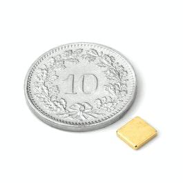 Q-CDM50-G Quadermagnet 5 x 5 x 1.2 mm, Neodym, N50, vergoldet