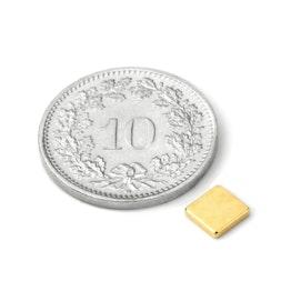 Q-CDM50-G Blokmagneet 5 x 5 x 1.2 mm, houdt ca. 450 gr, neodymium, N50, verguld