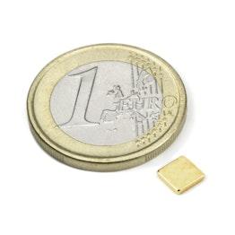 Q-CDM50-G Block magnet 5 x 5 x 1,2 mm, holds approx. 450 g, neodymium, N50, gold-plated
