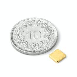 Q-CDM48-G Blokmagneet 5 x 5 x 1 mm, neodymium, N48, verguld