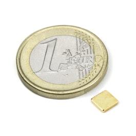 Q-CDM48-G Parallélépipède magnétique 5 x 5 x 1 mm, néodyme, N48, doré