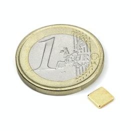 Q-CDM48-G Parallelepipedo magnetico 5 x 5 x 1 mm, tiene ca. 350 g, neodimio, N48, dorato