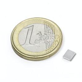 Q-05-04-01-N Parallelepipedo magnetico 5 x 4 x 1 mm, neodimio, N50, nichelato