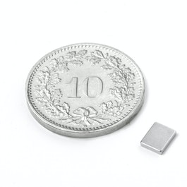 Q-05-04-01-N Parallélépipède magnétique 5 x 4 x 1 mm, néodyme, N50, nickelé