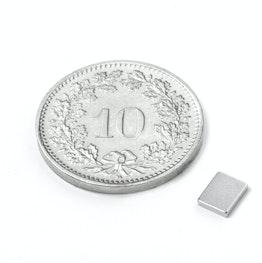 Q-05-04-01-N Blokmagneet 5 x 4 x 1 mm, houdt ca. 350 gr, neodymium, N50, vernikkeld