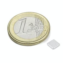 Q-CDM48-N Block magnet 5 x 5 x 1 mm, holds approx. 350 g, neodymium, N48, nickel-plated