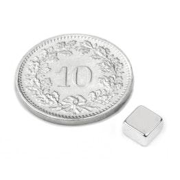 Q-05-05-03-N52N Blokmagneet 5 x 5 x 3 mm, houdt ca. 1 kg, neodymium, N52, vernikkeld