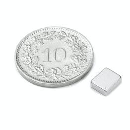 Q-06-05-02-HN Quadermagnet 6 x 5 x 2 mm, Neodym, 48H, vernickelt