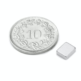 Q-06-05-02-HN Quadermagnet 6 x 5 x 2 mm, hält ca. 600 g, Neodym, 48H, vernickelt