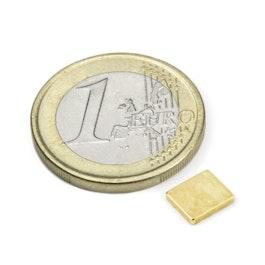 Q-07-06-1.2-G Parallélépipède magnétique 7 x 6 x 1,2 mm, néodyme, N50, doré