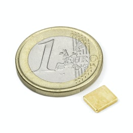 Q-07-06-1.2-G Bloque magnético 7 x 6 x 1,2 mm, sujeta aprox. 600 g, neodimio, N50, dorado
