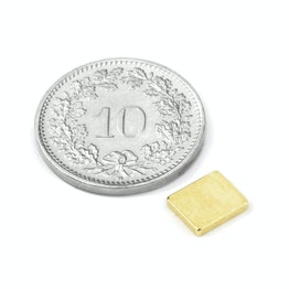 Q-07-06-1.2-G Block magnet 7 x 6 x 1.2 mm, neodymium, N50, gold-plated