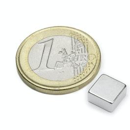 Q-08-08-04-N Blokmagneet 8 x 8 x 4 mm, neodymium, N45, vernikkeld
