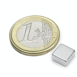 Q-08-08-04-N Block magnet 8 x 8 x 4 mm, holds approx. 1,5 kg, neodymium, N45, nickel-plated