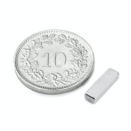 Q-10-03-02-HN Blokmagneet 10 x 3 x 2 mm, neodymium, 44H, vernikkeld